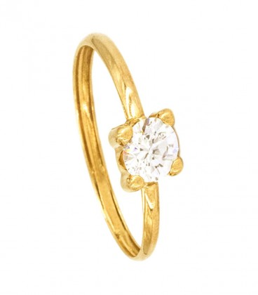 18K Gold Solitaire Ring with 5mm Zirconite
