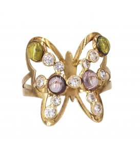 Butterfly Ring with 18K Gold Zirconites
