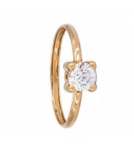 Bague Solitaire Or 18K Zirconium 5mm