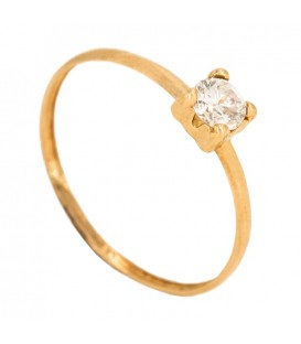 18K Gold Solitaire Ring with 4mm Zirconite