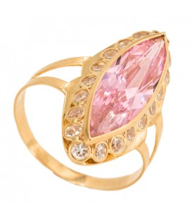 Gold Solitaire Ring 18K Pink Center of France and Zirconite Fence
