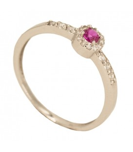 18K gold ring with ruby and set zirconia