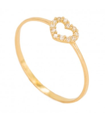 18K Gold Ring with Heart Set in Zirconia