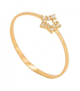 18K Gold Ring with Star Set in Zirconia
