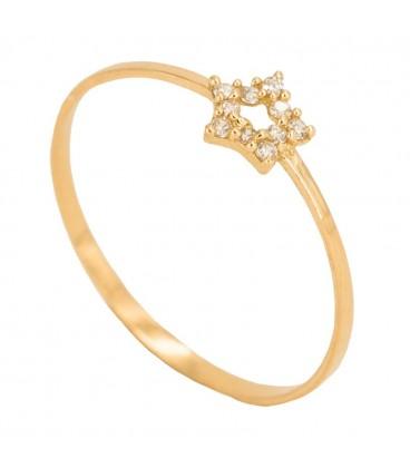 18K Gold Ring with Zirconsite Set Star