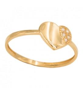 Bague en or 18 carats avec cœur et zirconium