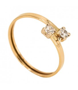 18K Gold Ring with Set Zirconia