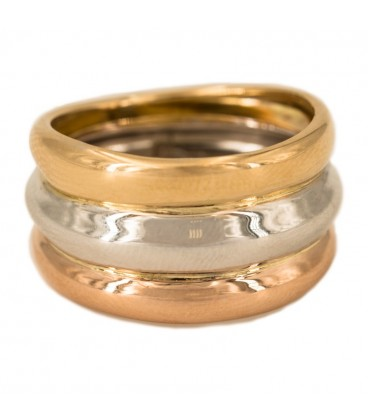 18K Gold Ring with Yellow Gold, White Gold and Rose Gold