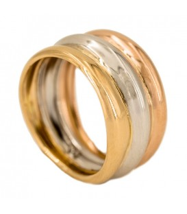 18K Tricolor Gold Ring White, Yellow and Pink