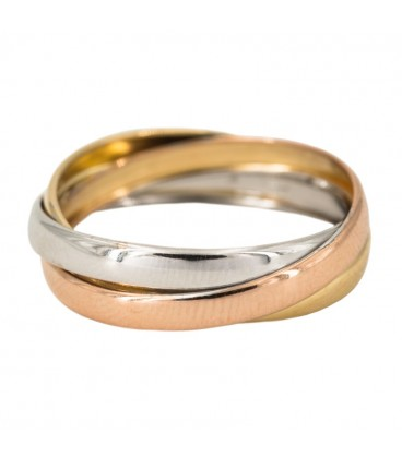 18K Gold Ring with Yellow Gold, White Gold and Cross Rose Gold