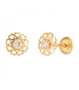 18K GOLD EARRINGS WITH HEARTS AND CIRCONITA