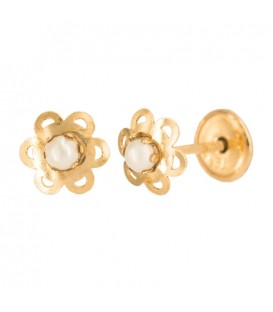 18 Gold Flower Earrings with Central Pearl