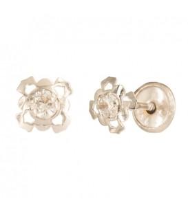 Boucles d'oreilles fleur quatre pétales Or 18K zirconium