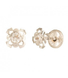 Earrings flower 18K gold four petals with zirconite