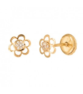 Earrings flower 18K gold five petals with zirconite