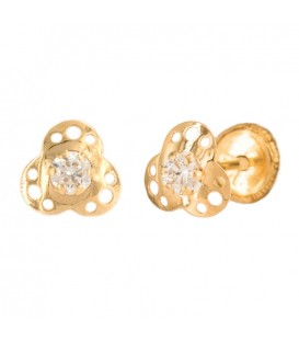 Earrings flower three petals with zirconite