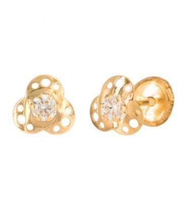 Three petal flower earrings with zirconia