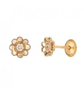 18K Bicolor Gold Flower Earrings with Zirconite