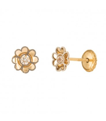 18K Bicolor Gold Flower Earrings with Zirconite