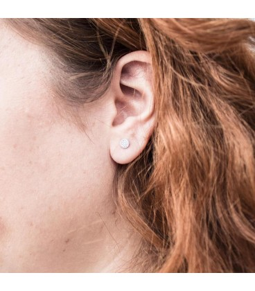 Bicolor Gold Circle Earrings with Zirconia