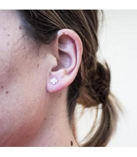Boucles d'oreilles Trèfle Or 18K Zirconium