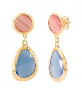 Boucles d'oreilles Quartz Rose y Bleu Or 18K