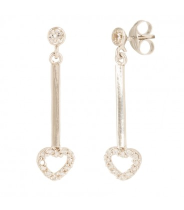 Long earrings with 18K gold rennet and zirconia heart
