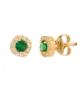 Round rennet earrings with 18K gold zirconia and center with zirconia
