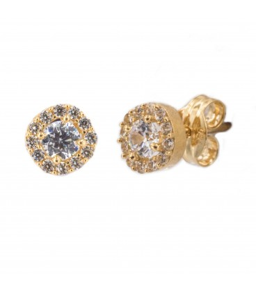 Round rennet earrings with 18K gold zirconia and center with white zirconia