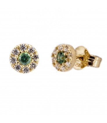 Round rennet earrings with 18K gold zirconia and center with green zirconia