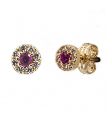 Round rennet earrings with 18K gold zirconia and center with pink zirconia
