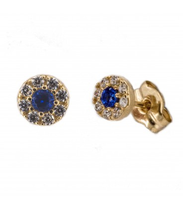 Round rennet earrings with 18K gold zirconia and center with blue zirconia
