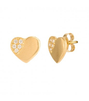 18K Heart of Gold Earrings with Zirconia