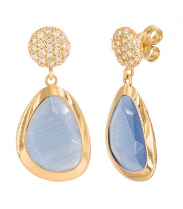 Round rennet earrings in 18K gold, with Zirconia and Quartz Cuajo