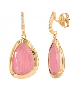 Rose Quartz Earrings and 18K Gold Zirconia