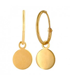 18K Gold Hoop Earrings with Circle