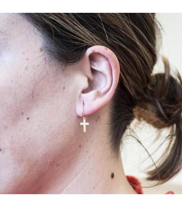 Gold Hoop Earrings with Girl's Cross