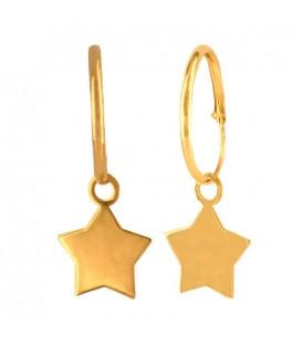 Pendientes aro de Oro 18K con estrella