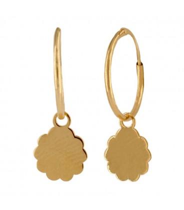 18K Gold Hoop Earrings with Flower