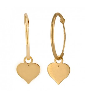 18K Gold Hoop Earrings with Heart