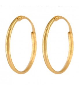 14mm Smooth Gold Hoop Earrings
