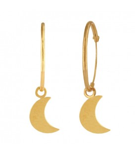 18K Gold Hoop Earrings with Half Moon
