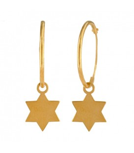 18K Gold Hoop Earrings with Star