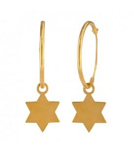 Pendientes de Aro en Oro 18K con estrella