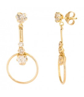 18K Gold Earring Set with Heart-shaped claws and round in zirconia