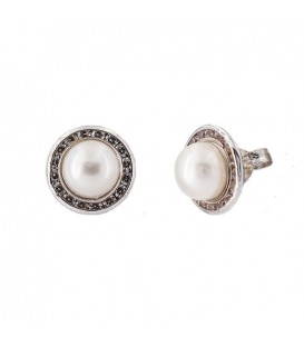 18K White Gold Natural Pearl Earrings with Zirconia