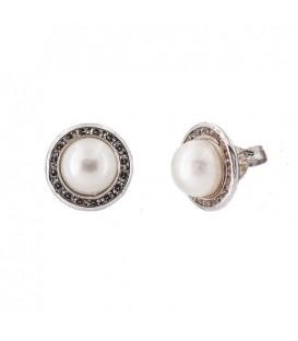 Boucles d'oreilles de perle naturelle Or blanc 18K zirconium