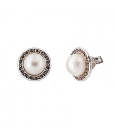 White gold earrings 18 K natural pearl with zirconia lane
