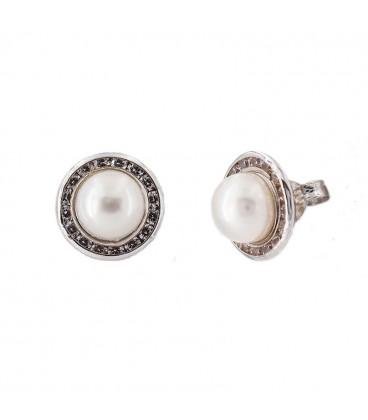 Pendientes de Oro blanco 18 K natural pearl con carril de circonitas