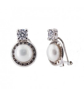 18K To and I White Gold Earrings with Zirconia Fence